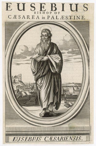 EUSEBIUS OF CAESAREA Palestinian church historian, depicted reading one from a pile of books, with the city of Caesarea behind him