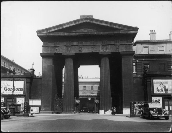 The great Doric arch at the entrance to Euston Station, designed by Philip Hardwick, it was completed in 1838 at a cost of 35,000. Tragically demolished in 1962 - 1963&quot