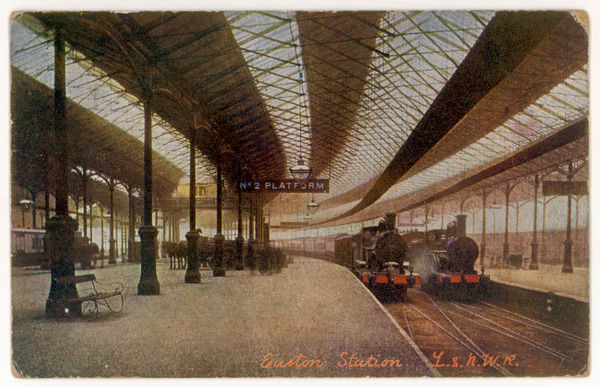 Two trains of the London and North Western Railway await their passengers