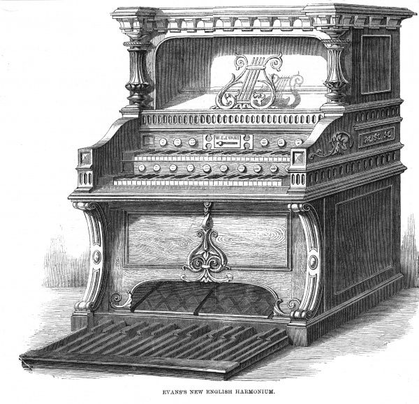 Evans's new English harmonium, for home and church use : like all such instruments, it is powered by foot-operated bellows. Date: 1859