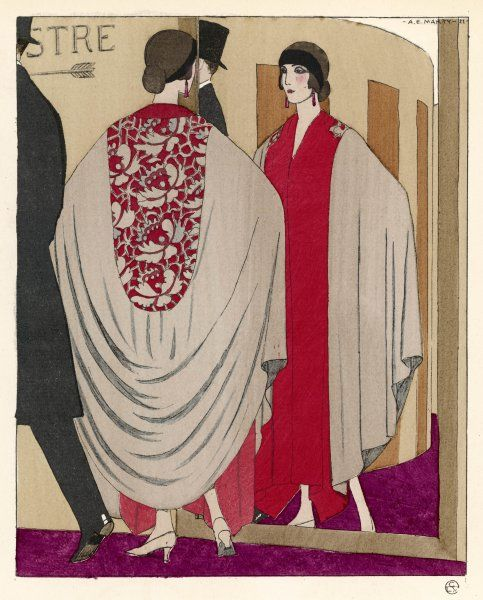 Voluminous cape like evening coat by Paul Poiret: oblong yoke in a floral fabric & rounded hem at the back with a red border at the front, plus drop earrings & a headband