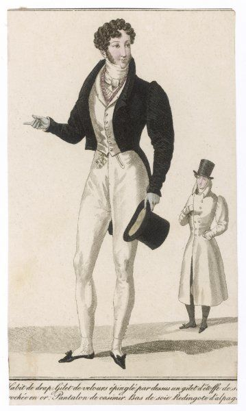 Short black cut-away coat with gigot sleeves, 'M'-cut collar, white waistcoat, silk under- waistcoat, top hat, black pumps & Wellington pantaloons (buttoned at the calf)
