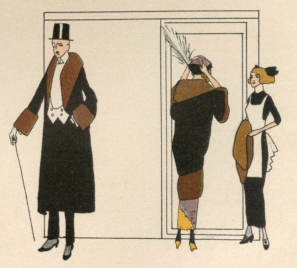 Society people prepare for a night on the town. He wears a fur trimmed overcoat over his dress clothes, she wears a fur trimmed mantle & a toque with a vertical feather. Date: 1912