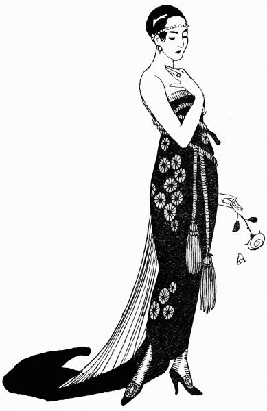 Off the shoulder evening dress, with wrap around tassel on the waist and long tail. Date: 1918