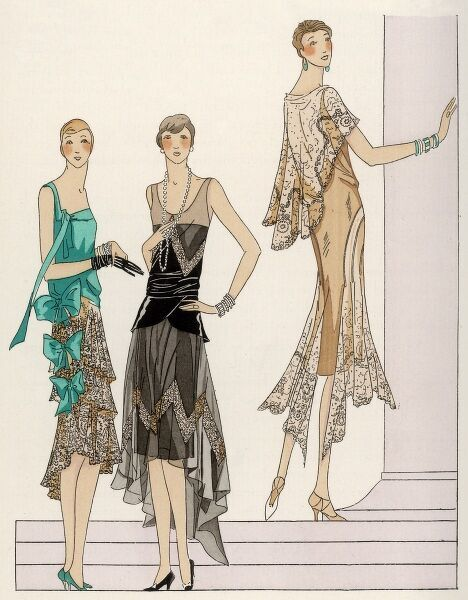 Lace is very 'in' this year, and these three ladies wear evening dresses garnished with lace from Racine, of Paris