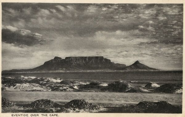 Evening light over Cape Town and Table Mountain, South Africa Date: circa 1920s