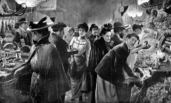 Illustration showing a Saturday evening market scene in 'Le Quartier Francais' in Soho, London, 1906