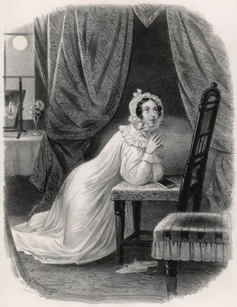 Evening prayer : a young woman in her nightgown and nightcap kneels in prayer before going to bed Date: circa 1830