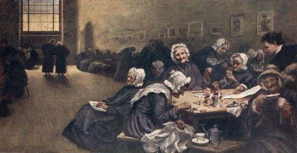Hubert von Herkomer's 1878 painting 'Eventide' showing the aged women's ward at Westminster Union workhouse. It was as re-working of his 1877 illustration 'Old Age - A Study at the Westminster Union' for the weekly magazine The Graphic