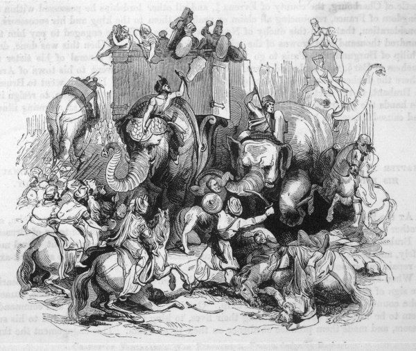 Tamerlane in action with elephants