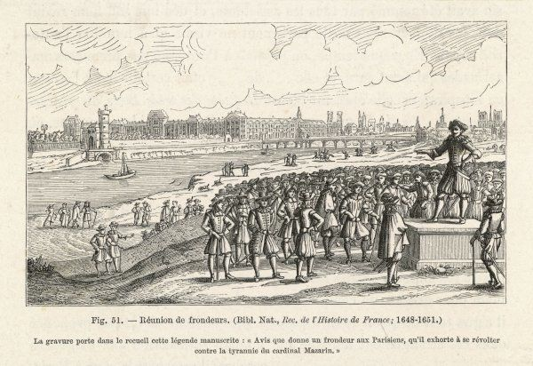 Parisiens attend a meeting against Mazarin during the Fronde