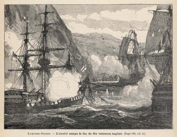 French admiral Lamothe-Piquet, to protect a convoy at Martinique, engages six English ships so bravely that the English congratulate him