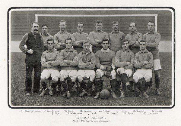 EVERTON F.C. team 1905-6 (each player is named below)