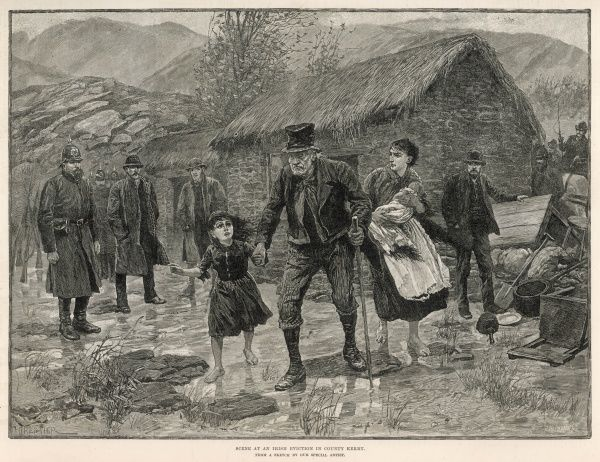 A poor family are evicted from their home in County Kerry, Ireland