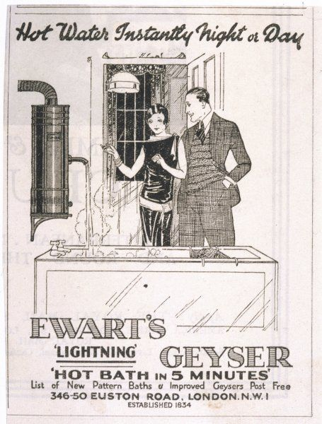 Ewart's geyser, for a hot bath in five minutes!