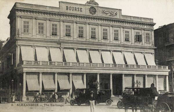 The Exchange (Bourse) at Alexandria, Egypt, with wonderful sunshade awnings and a fine colonade front