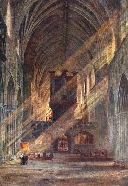 Exeter, Devon: inside the cathedral Date: 1905