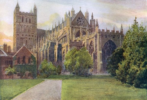 Exeter, Devon: the cathedral Date: 1919