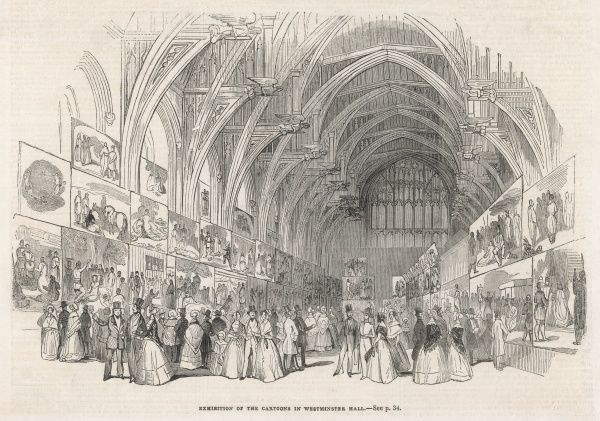 Exhibition of cartoons in Westminster Hall