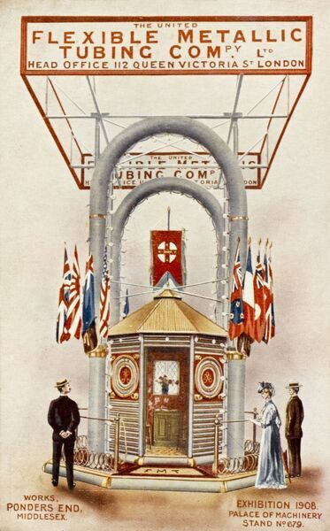 The Franco-British Exhibition at White City, London of 1908. The exhibit of the United Flexible Metallic Tubing Company (of 112 Queen Victoria Street, London) in the Palace of Machinery (stand no. 679)