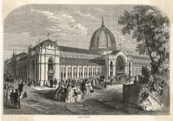 The East Front of the International Exhibition building at South Kensington, London