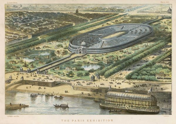 Bird's-eye view of the site of the 1867 exhibition, on the Champ de Mars, where the Tour Eiffel was subsequently located ; note the splendid bathing boat on the Seine