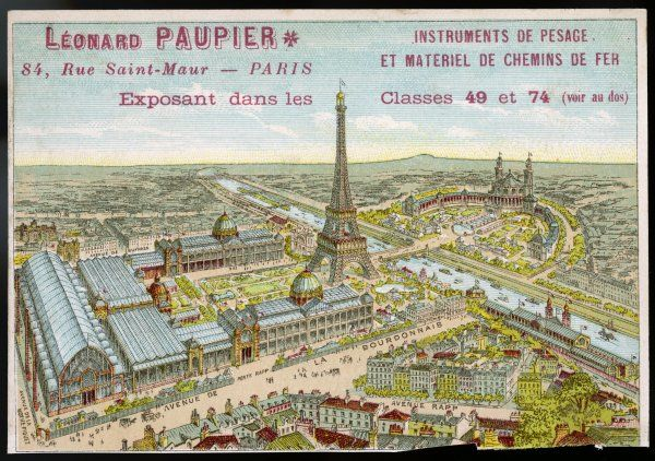 Bird's eye view of the Paris 1889 Exposition, with the Tour Eiffel and the Trocadero