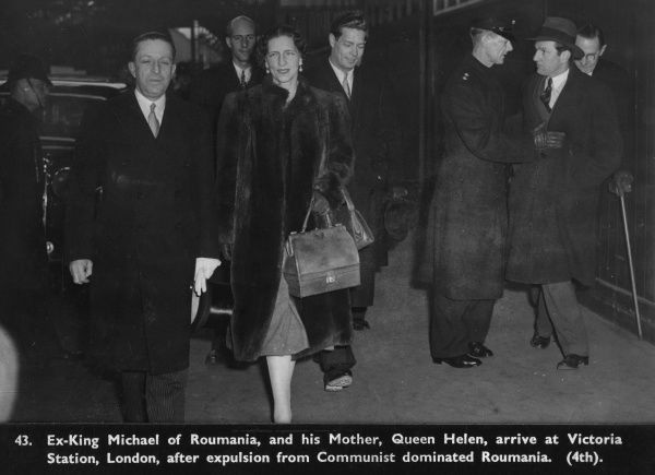 Ex-King Michael of Romania (born 1921) and his mother Queen Helen (formerly Princess Helen of Greece) arriving at Victoria Station, London after expulsion from Communist dominated Romania in December 1947