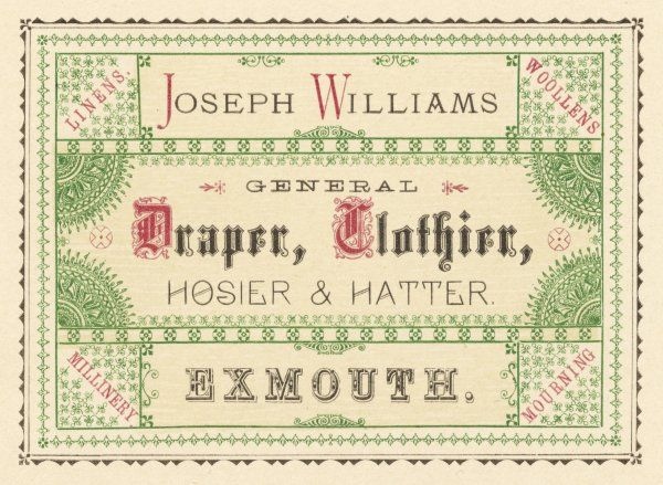 Joseph Williams, draper, clothier, hosier and hatter of Exmouth