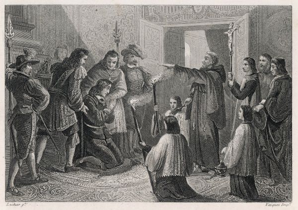 A priest performs an exorcism on the Habsburg king of Spain, Carlos II; his physical and mental sufferings caused him to think himself bewitched; he failed to provide an heir