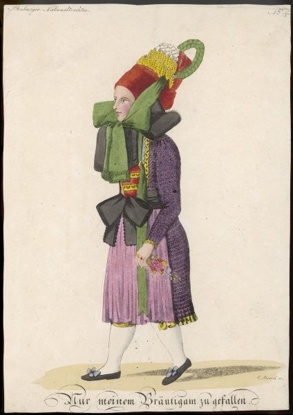 "An elaborate outfit for this bride in multi-colour with large ribbons. The caption reads ""To please my Bridegroom&quot"