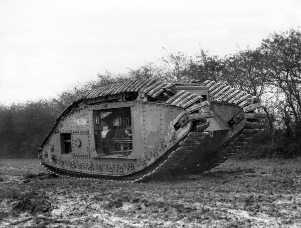 Experimentation with a British Mark V tank, fitted with rope-sprung tracks by Colonel Johnson at Dollis Hill, north west London, during the First World War