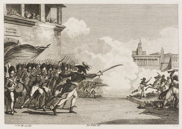 Expert, chef de bataillon, leads an infantry charge against the Egyptian cavalry in the streets of Faioum. Date: 8 November 1798