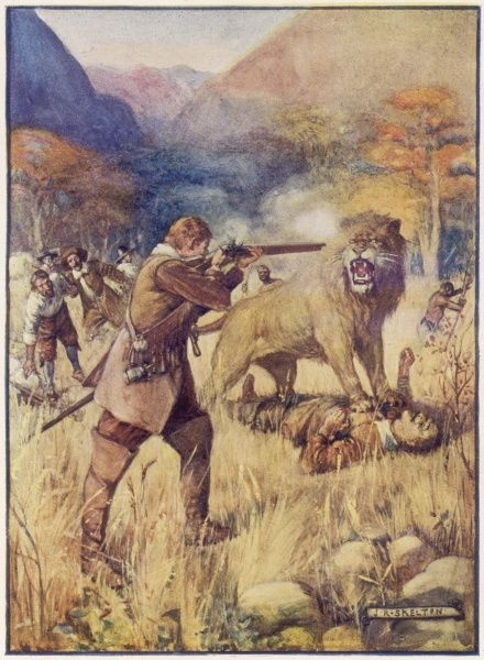Dutch soldier Jan van Harwarden leads an exploring expedition from Cape Town : by the Eerste River a lion nearly gets one of his men but he shoots it