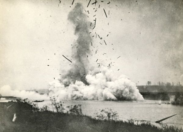 An explosion on the American Front, probably in France, during the First World War. Date: circa 1918