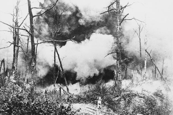 Mine explosion in a German occupied wood prior to an infantry attack during World War I on the Western Front
