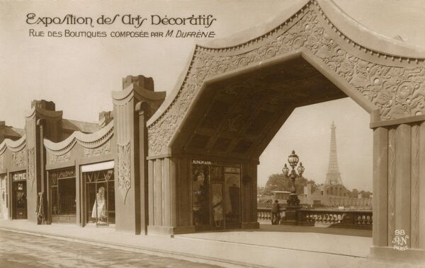 The International Exposition of Modern Industrial and Decorative Arts, Paris, France - Boutiques on the Pont Alexandre III Date: 1925
