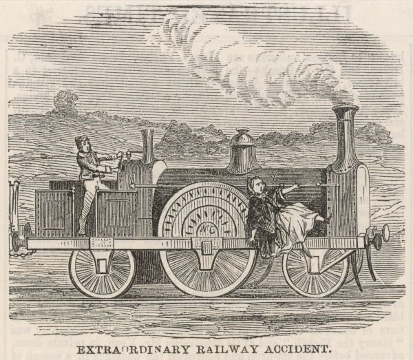 A woman is thrown onto a locomotive after a collision with her cart at Shelford, Cambridgeshire. The terrified woman clings onto a rail at the front of the train as it continues to steam along