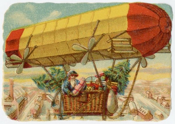 Father Christmas in a propelled airship
