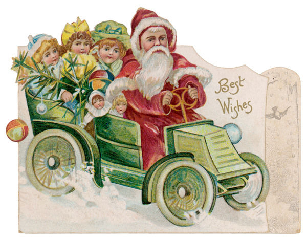 Father Christmas delivers presents in a car which is full of girls and dolls