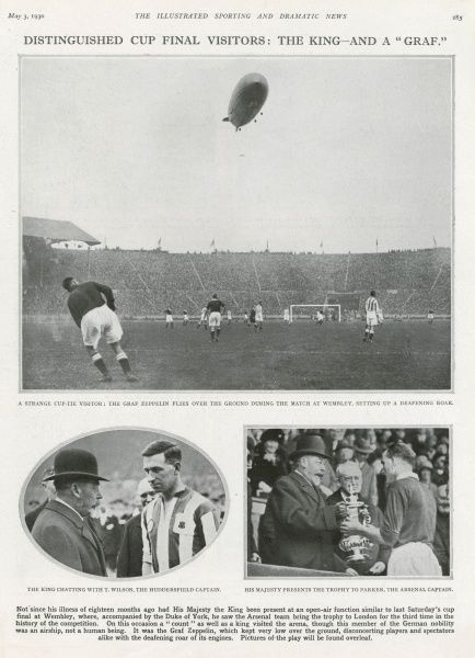 Photographs from the Football Association Challenge Cup Final of 1930 between Arsenal and Huddersfield. The two 'distinguished' guests during the game were King George V (pictured presenting the cup to winning captain Parker of Arsenal)
