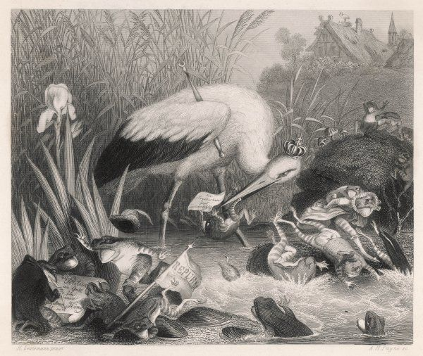 FROGS PETITION JUPITER FOR A KING: King Stork, sent to the frogs who complained they had no proper ruler, eats them all up