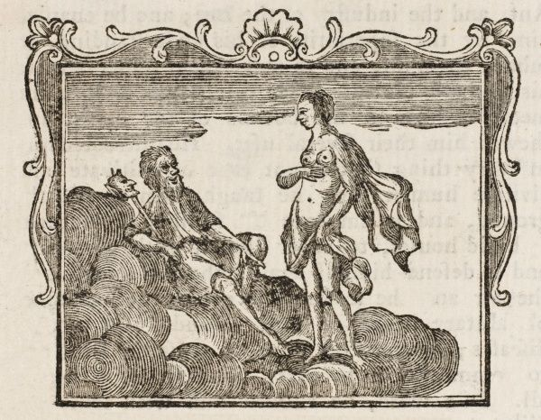JUPITER, NEPTUNE, MINERVA AND MOMUS: Momus found fault with everything made by the gods including man, so much so that Jupiter drove him from his office of judge