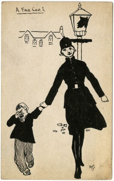 A humorous play on words as a female police officer leads away a naughty little boy