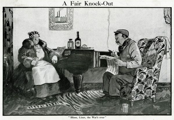 "A middle aged couple sitting indoors eating pickled onions and drinking stout beer, when the man reads in the newspaper that the First World War has ended ""blime, lizer, the War's over&quot"