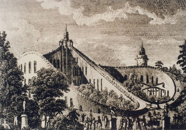 An early form of roller coaster ('the Aerial Walk') in the Beaujon Gardens, Paris