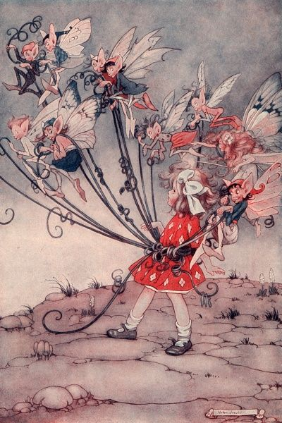 A little girl in a red dress and with a huge bow in her hair is bound up with ribbons by a group of mischievous looking pixies, elves and fairies