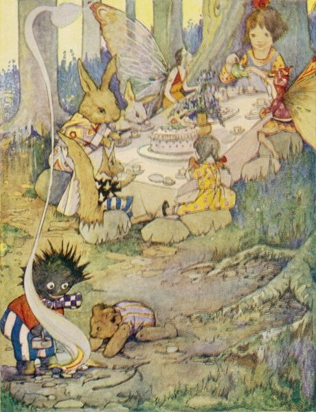 A fantasy picture where a little girl, toy and various animals entertain a couple of fairies to tea in a woodland glade