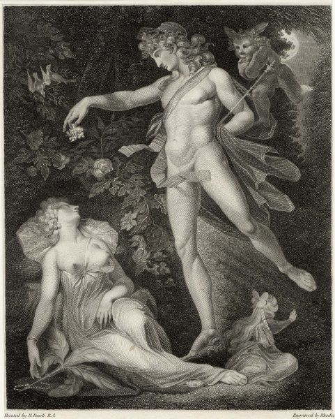 Act II, Scene II Oberon sprinkles his spell onto Titania as she sleeps; a mischievious Puck flitters behind him