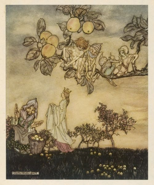 Fairies and elves pick apples